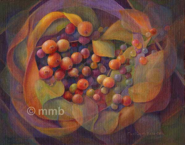 Abstract oil painting of berries, emergence