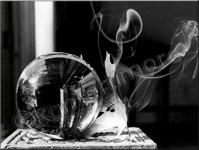 Karen George Mortimore, smoke, face, b & w film, apparition