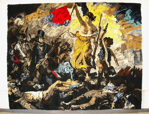 Latch hook rug based on a painting by Eugene Delacroix