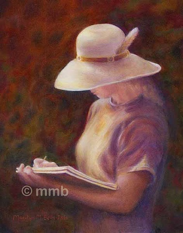 representational oil painting of a woman sketching outside in sunlight