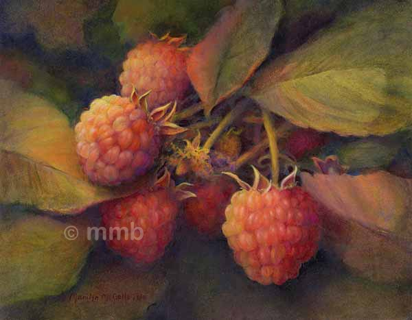 realistic oil painting of raspberries from fruit farm series