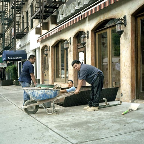 men working on Upper East Side