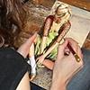 Amanda Besl at work in her studio in Buffalo, NY