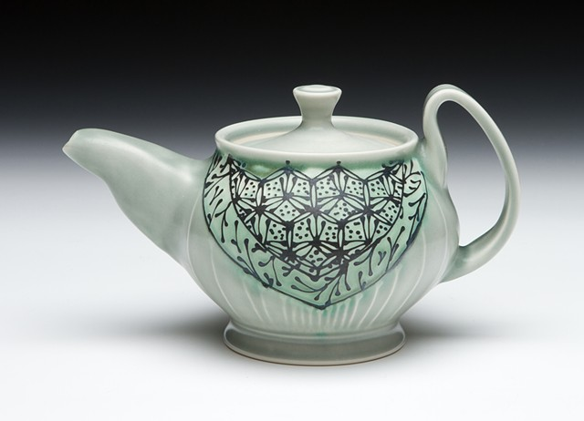 oval teapot blue green hex floral