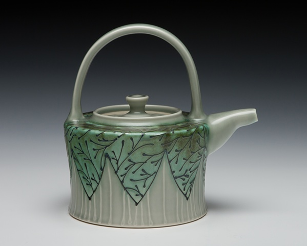 teapot with overhead handle blue/green