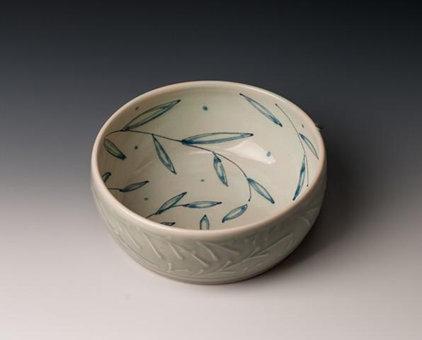 Medium Flat-bottomed Bowl, blue-green