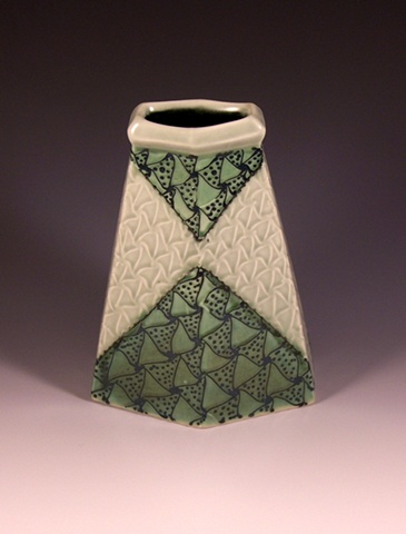 six sided blue green vase