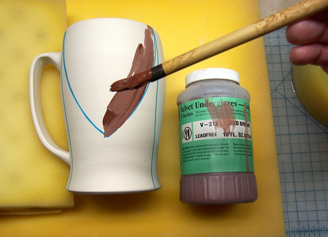 step 3: paint on underglaze