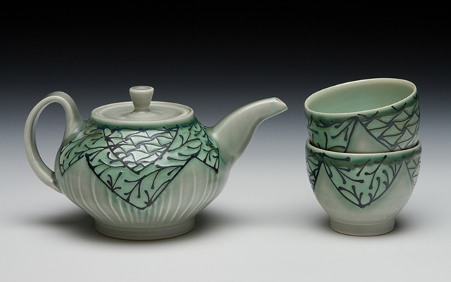 mini teapot with teabowls blue/green 2