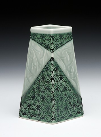 four sided vase blue green