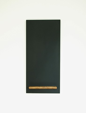 Handmade modern chalkboard with wood tray in a monolith design by Andrew Traub.