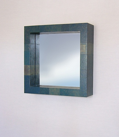 Deep Box Paper Skin Mirror. Color: Caribbean Modern custom