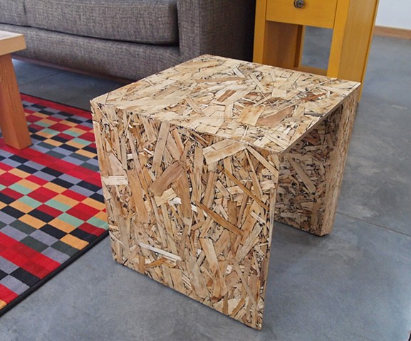Modern OSB Furniture, chair, stool, seating, table, stand. Handmade by Andrew Traub, Andy Traub