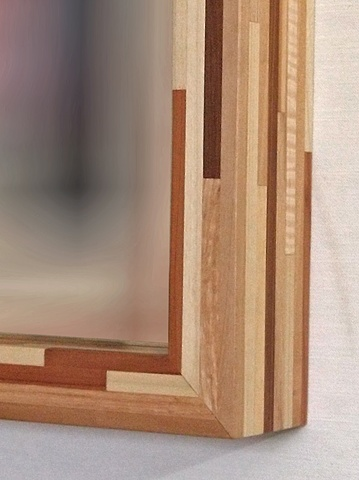 modern wood mirror frame, handmade salvaged and scrap wood