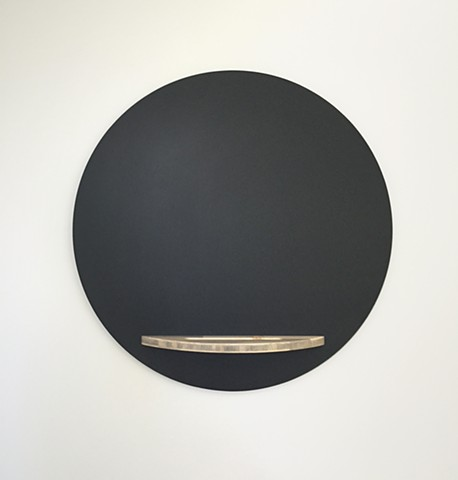 Modern chalkboard cicle handmade with blue pine wood tray by Andrew Traub