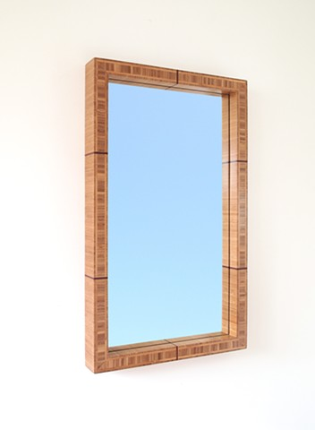 Modern bamboo mirror made from thick bamboo plywood with resin bands added