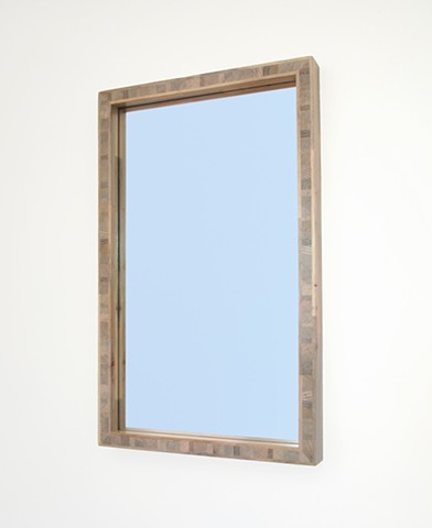 Modern gray wood mirror handmade with beetle kill blue pine, hanging, block core. Andrew Traub Studio