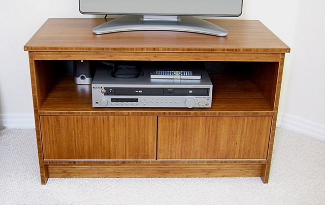 Custom bamboo plywood tv cabinet, handmade by Andrew Traub.