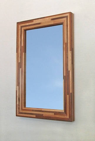 Modern wood mirror, custom made frame using salvaged wood, handmade by Andrew Traub.