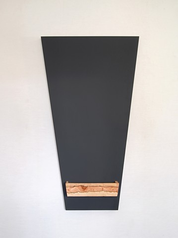 Handmade modern chalkboard hanging with wood tray, designed and handmade by Andrew Traub, Andy Traub