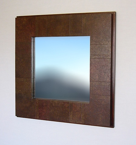 Platform Mirror Frame with Walnut, handmade, modern