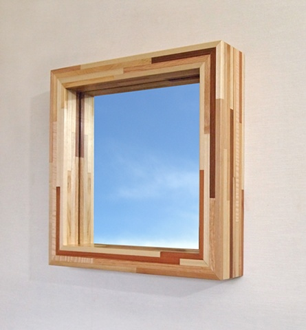 Modern wood mirror frame made with salvaged wood, handmade by Andrew Traub, Andy Traub