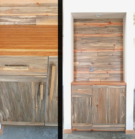 Blue pine wall and cabinet with LVL bar top, designed and built by Andrew Traub.
