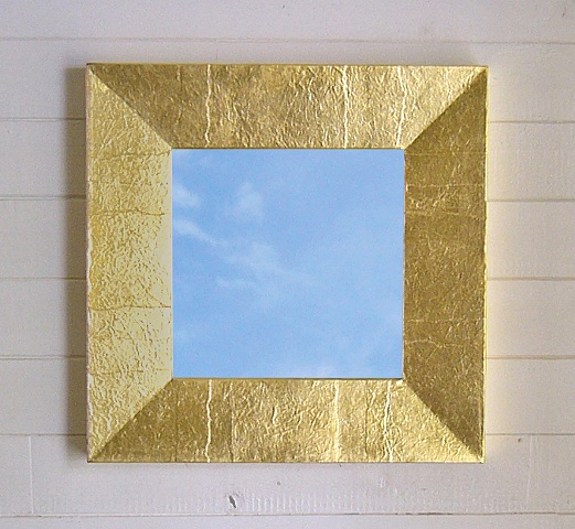Mirror frame with gold leaf on on wrinkled paper, handmade by Andrew Traub.