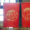 Grade 1 Yarn prints on red rice paper