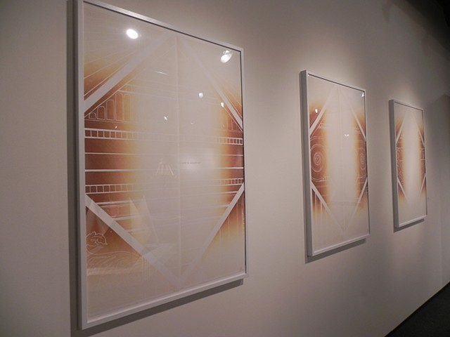 """""""Just Decide"""" Installation View of Prints """"Choose a Colour"""" (Parts I and II) """"Pick a Number"""" (Parts I and II) """"Choose a Word"""" (Parts I and II) """"Select a Side"""" (Parts I and II)"""