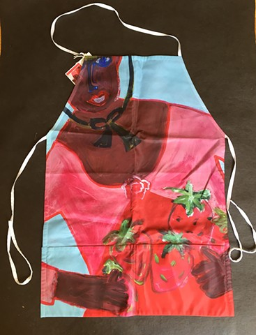 Strawberry Queen design on a heavy washable fabric apron with two big pockets designed by Patricia Dubroof