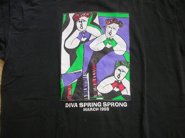 Colorful image of Dona Diva on balck t-shirt by Patricia Dubroof