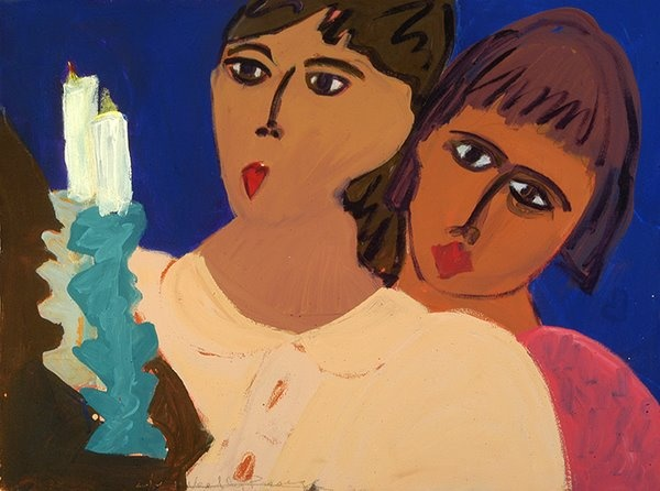 Painting of two women lighting two sacred candles by Patricia Dubroof