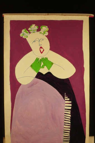 Large Format painting of an opera singer with a piano dress and green bow in her hair by Patricia Dubroof