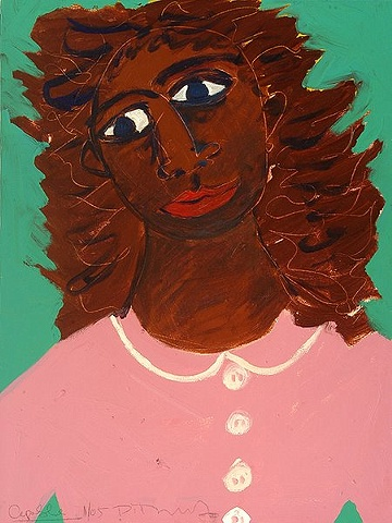 Painting of a woman with feathered hair in a pink blouse by Patricia Dubroof