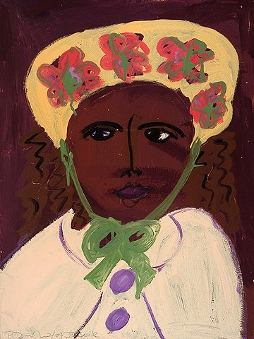 Painting of a woman in a flowered hat by Patricia Dubroof
