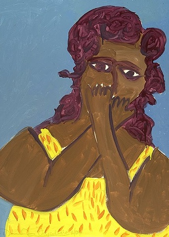 Painting of a woman in a yellow shirt covering her mouth with her hands by Patricia Dubroof