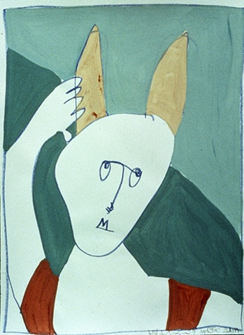 Painting of a man awakening with ears of  mule by Patricia Dubroof