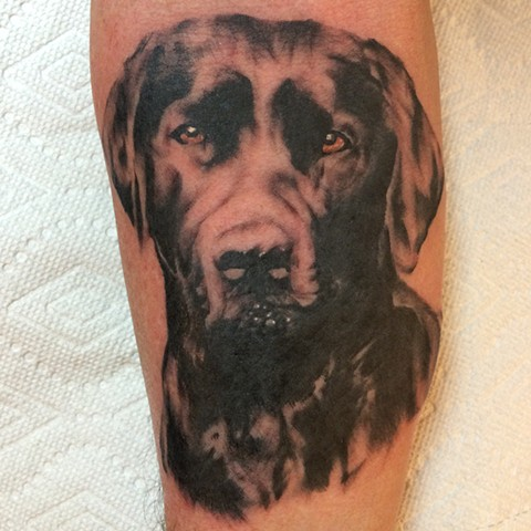 black and grey tattoo, realism tattoo, portrait tattoo, dog portrait
