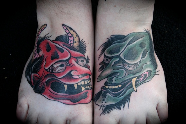 healed japanese oni demon feet tattoos