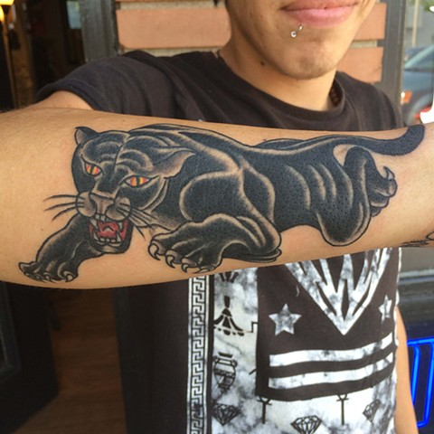 panther, tattoo, traditional tattoo