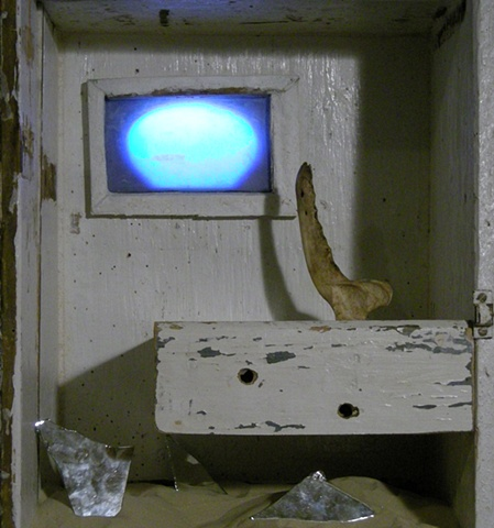 Re-purposed Wood Cabinet, Sand, Mirror, Bone, DVD, LCD Screen scultpure