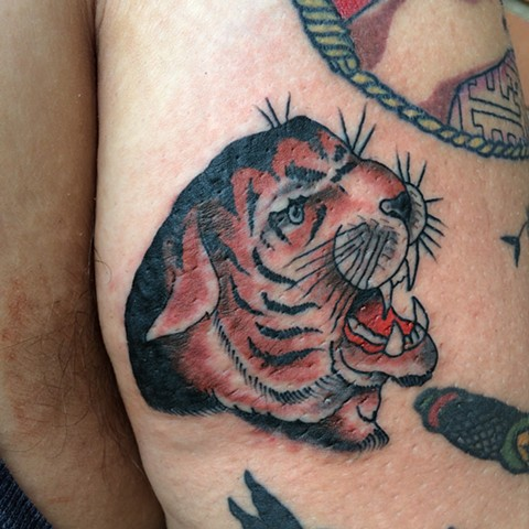 tattoo, traditional tattoo, tiger