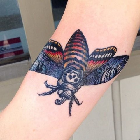 tattoo, color tattoo, tattoos, muncie, black sword alliance, death head, moth, neofolk, devilspalm
