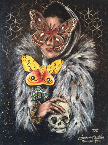 acrylic  painting skull butterfly gold leaf