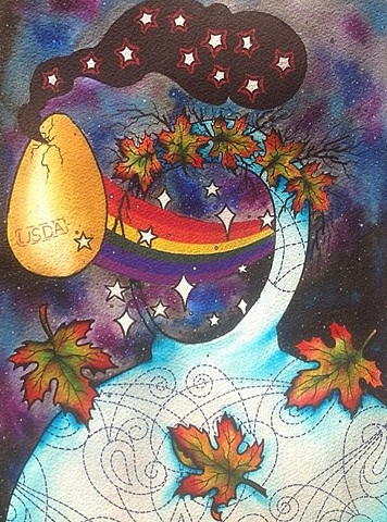 Watercolor, sharpie, colored pencil, autumn, egg, rainbow, stars, neofolk, devilspalm