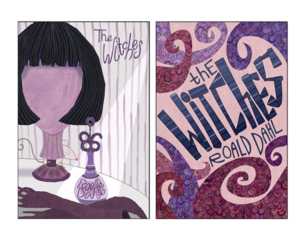 The Witches (art-focused and hand-drawn text-focused book covers)