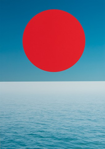 Red Circle Above the Sea