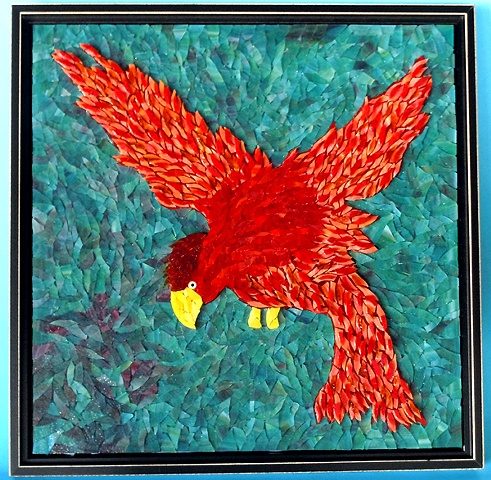 Bird in Flight Mosaic Art Stacked Glass