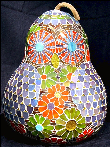 Mosaic Owl Gourd Art Teresa Hollmeyer